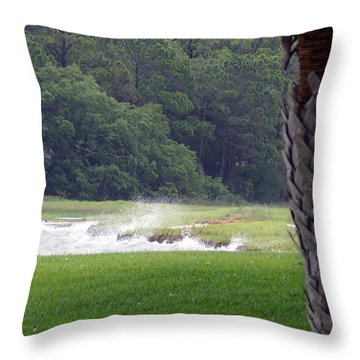 Ocean Spray At Hilton Head Island Throw Pillow by Kim Pate