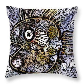 Throw Pillow featuring the drawing ocean sunfish R by Selke Boris