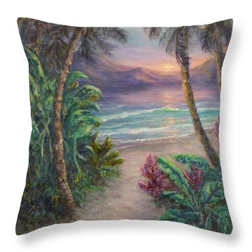 Ocean Sunrise Painting With Tropical Palm Trees  Throw Pillow