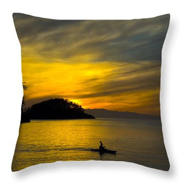 Ocean Sunset At Rosario Strait Throw Pillow