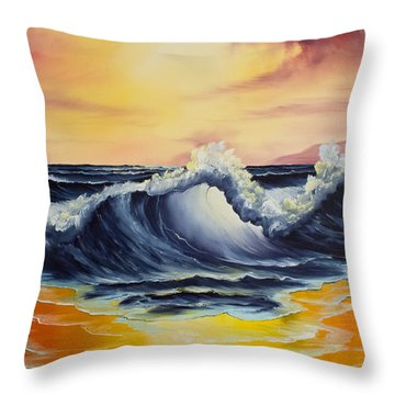 Ocean Sunset Throw Pillow by C Steele