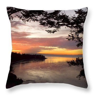 Ocean Sunset Deception Pass Throw Pillow