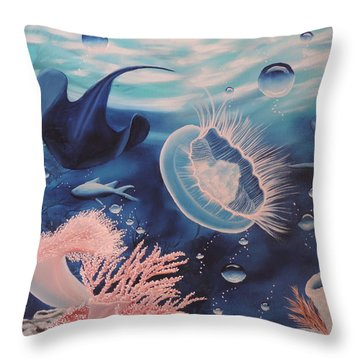 Throw Pillow featuring the painting Ocean Treasures by Dianna Lewis