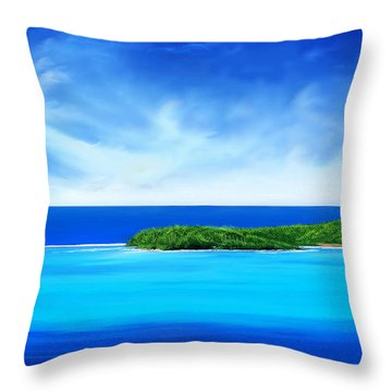 Throw Pillow featuring the digital art Ocean Tropical Island by Anthony Fishburne