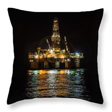Ocean Valiant Semi Submersible Drill Rig Throw Pillow