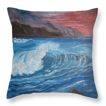 Throw Pillow featuring the painting Ocean Wave by Jenny Lee