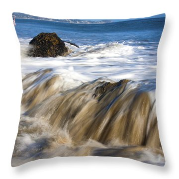 Ocean Waves Breaking Over The Rocks Photography Throw Pillow by Jerry Cowart