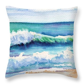 Ocean Waves Of Kauai I Throw Pillow by Marionette Taboniar