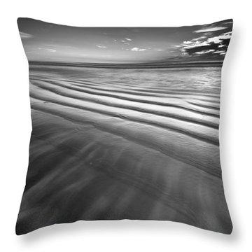 Ocean Waves Seascape Beach Sunrise Photograph In Black And White Throw Pillow