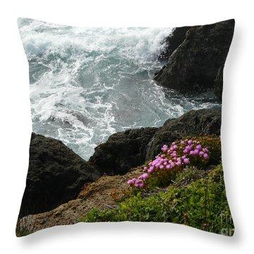 Ocean Wildflowers-2 Throw Pillow by Avis  Noelle