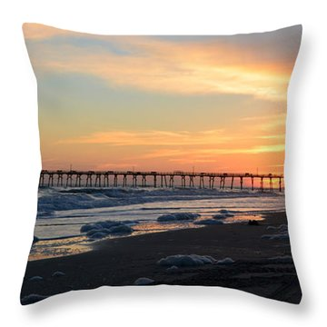 Oceanana Pier Sunset Throw Pillow by Dan Williams
