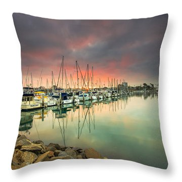 Oceanside Harbor Sunrise Throw Pillow