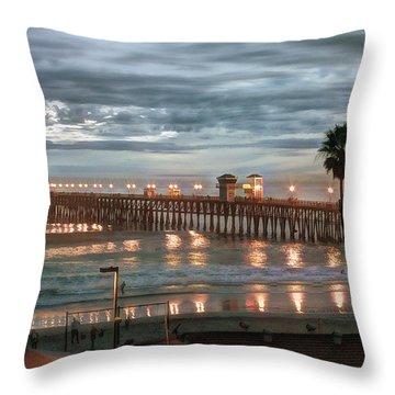 Oceanside Pier At Dusk Throw Pillow by Ann Patterson