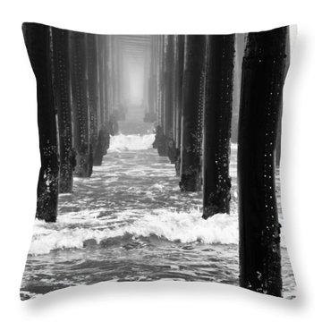 Oceanside Pier In Fog Throw Pillow