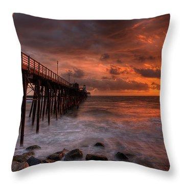 Oceanside Pier Perfect Sunset -ex-lrg Wide Screen Throw Pillow