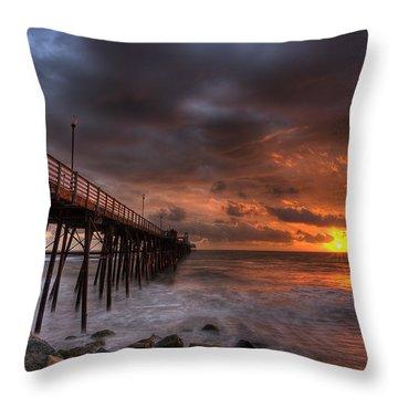 Oceanside Pier Perfect Sunset Throw Pillow
