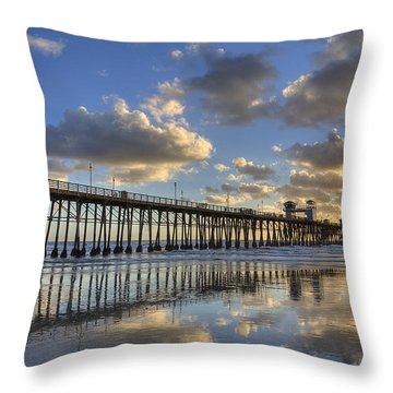 Oceanside Pier Sunset Reflection Throw Pillow