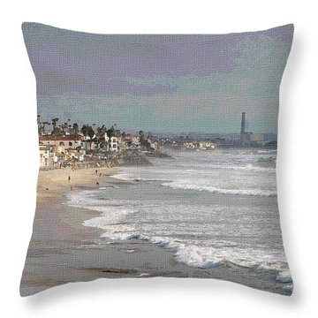 Oceanside South Of Pier Throw Pillow by Tom Janca