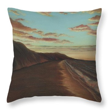 Oceanside Sunset Throw Pillow