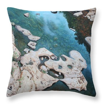 Ocoee River Low Tide Throw Pillow