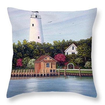 Ocracoke Island Light Throw Pillow