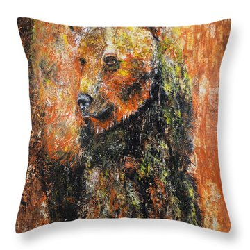 Abstract Bear Painting October Bear Throw Pillow