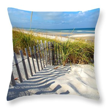 October Beach Throw Pillow by Dianne Cowen