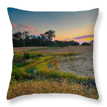 October Evening On The Farm Throw Pillow