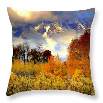 Throw Pillow featuring the photograph October In Grand Tetons by Irina Hays