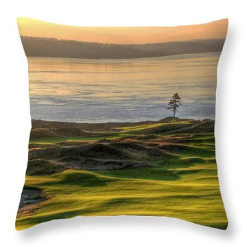 Throw Pillow featuring the photograph October Solitude - Chambers Bay Golf Course by Chris Anderson