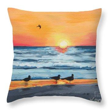 October Sunset On Siesta Key Florida Throw Pillow by J Linder