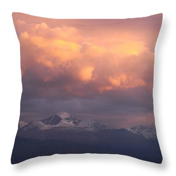 October Sunset Over Longs Peak Throw Pillow by Margaret Bobb