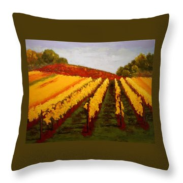 Throw Pillow featuring the painting October Vineyard by Nancy Jolley