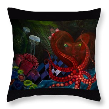 Octopus Heart Throw Pillow