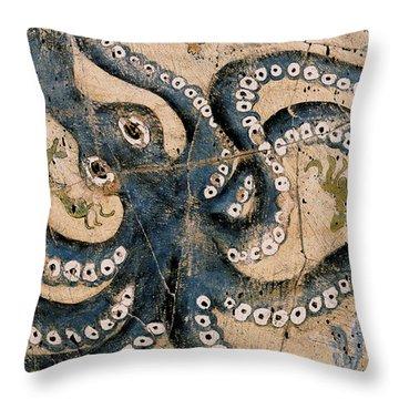 Octopus - Study No. 1 Throw Pillow by Steve Bogdanoff