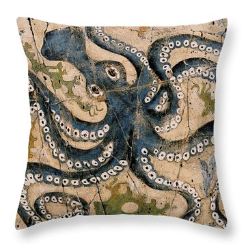 Octopus - Study No. 2 Throw Pillow by Steve Bogdanoff