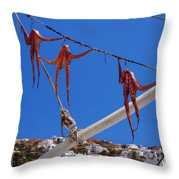 Octopus Trio Hanging In Mykonos Greece Throw Pillow