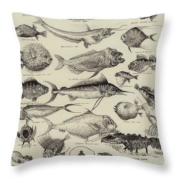 Odd Fish At The International Fisheries Exhibition Throw Pillow