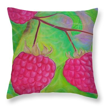 Ode To A Raspberry Throw Pillow by Rachel Cruse