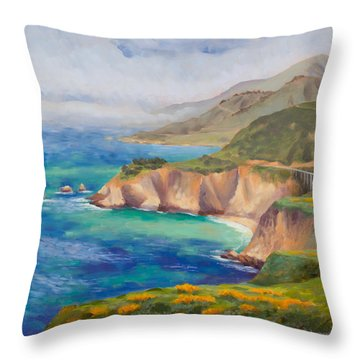Ode To Big Sur Throw Pillow by Karin  Leonard