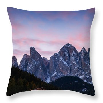 Odle Mountain Group In The Dolomites - Italy Throw Pillow