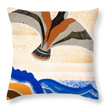 Odyssey Illustration  Bird Of Potent Throw Pillow by Francois-Louis Schmied