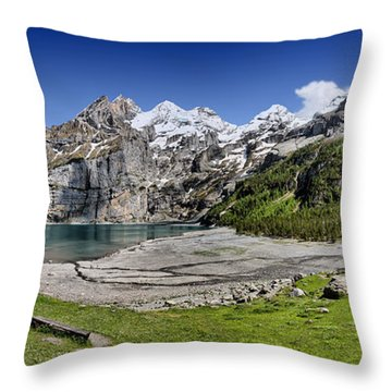 Oeschinen Lake Throw Pillow by Carsten Reisinger