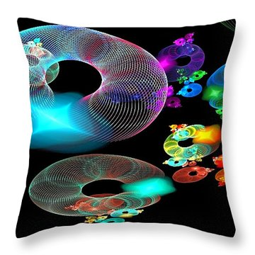 Of Discs And Things Throw Pillow by Nancy Pauling