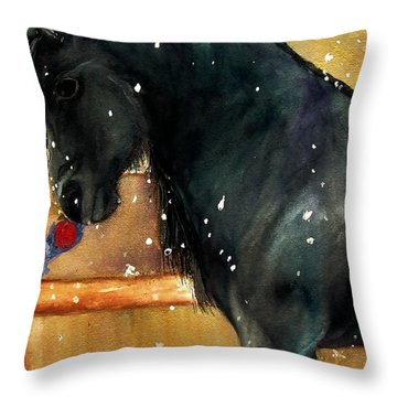 Of Girls And Horses Sold Throw Pillow by Lil Taylor