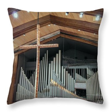 Throw Pillow featuring the photograph Of The Cross And Pipes by Karen Musick