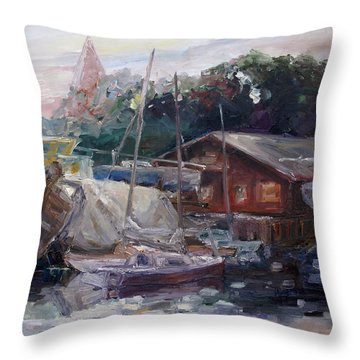 Off Hours At The Ship Yard In Kirchdorf Island Poel Throw Pillow by Barbara Pommerenke