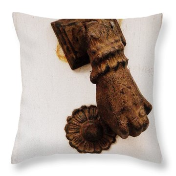 Off It's Knocker Throw Pillow by Lainie Wrightson