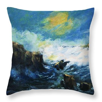 Off Shore Breakers At Dusk Throw Pillow