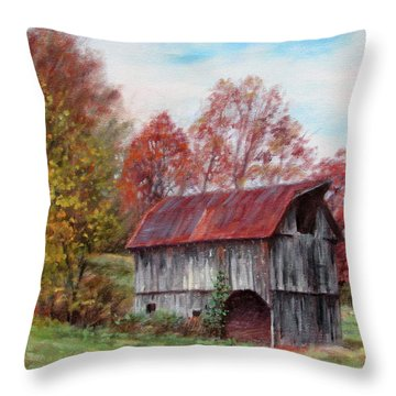 Off The Beaten Track-old Barn With Red Roof Throw Pillow